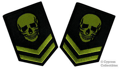 LOT 2 GREEN SKULL EMBROIDERED PATCH BIKER POISON SKELETON IRON-ON MILITARY DEATH