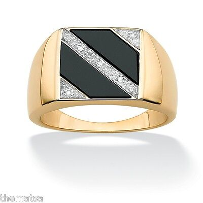 18K GOLD OVER STERLING SILVER EAGLE ONYX RING SIZE 8 9 10 11 12 13