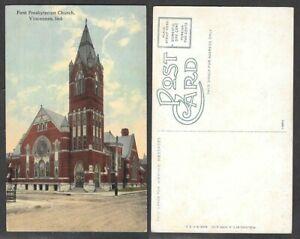 Old-Indiana-Postcard-Vincennes-First-Presbyterian-Church