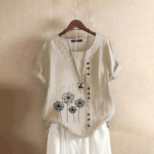 Women Linen Cotton Vintage Tops T-Shirt Summer Short Sleeve Blouse Shirt Tee NEW