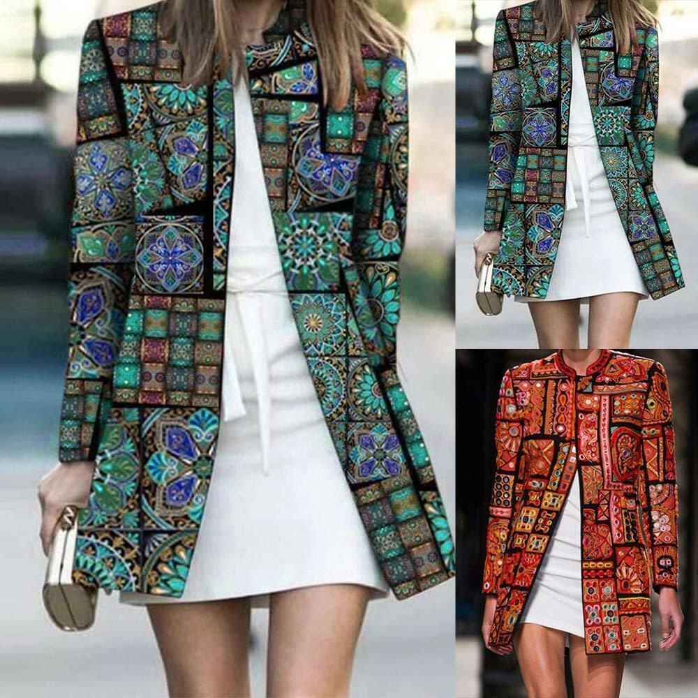Women Printed Cardigan Tops Holiday Long Sleeve Floral Kimono Blouse Jacket Coat