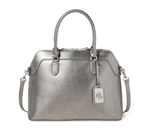 c4571fce4de3 Ralph Lauren Newbury Medium Leather Double Zip Domed Satchel (Silver ...