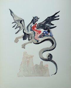 Dali Salvador: Hölle 17 - Holz Graviert Original, 1960 # Göttliche Komödie