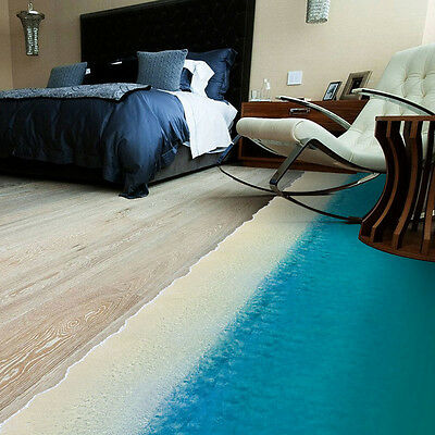 3D Beach Wall Sticker Removable Floor Sticker Decal Mural Home Living Room Decor