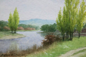 Gustav-Mueller-Aquarell-Am-Seeufer-Mai-1980