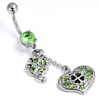 "14g 7//16/"" Irish Luck Belly Button Ring"