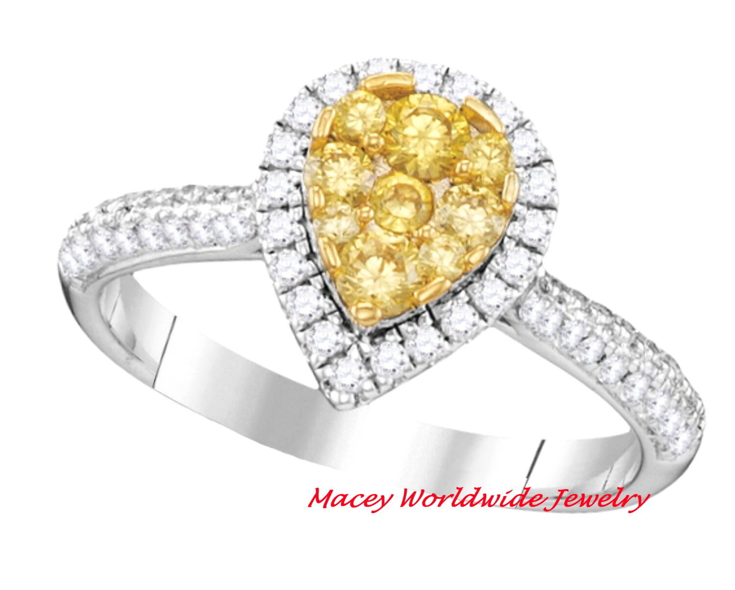 4364ccec0997d Teardrop gold White 14K Canary Yellow .94Ct Ring Bridal Diamond ...