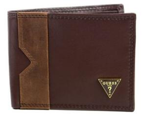 Guess-Men-039-s-Leather-Credit-Card-Wallet-Passcase-Billfold-Brown-31GU13X049
