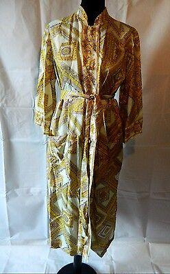 SALE Vintage 70's Button Down Shirt Dress Pastel shimmer colors Belt Size Large