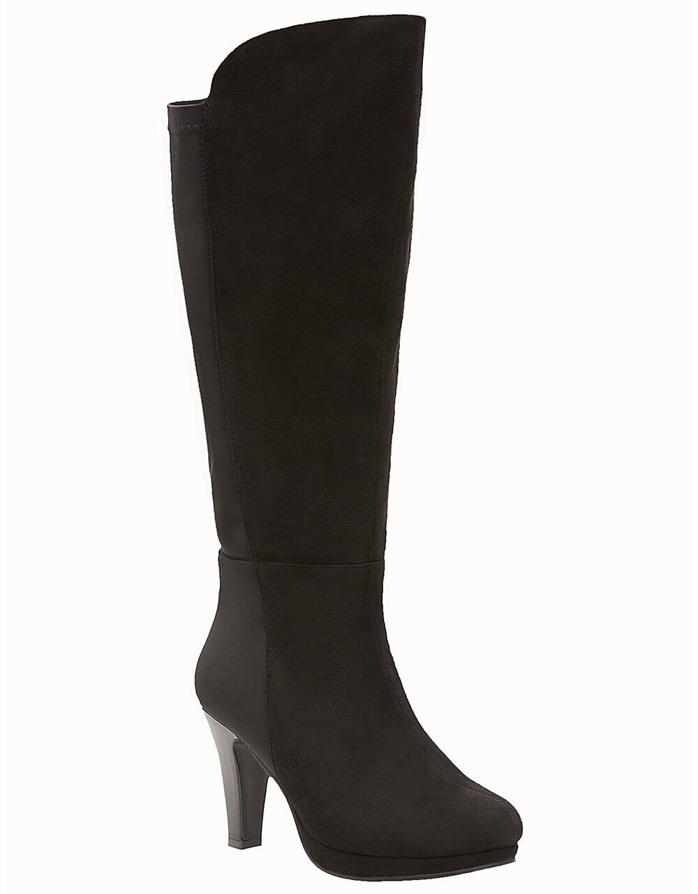 Defected Tall Heeled Stretch Back Women's Boots Black Size 11W By Lane Bryant
