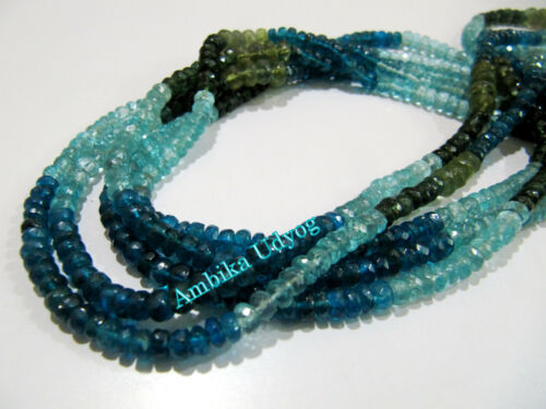 """4-5mm Size Strand 14/"""" long approx Natural Multi Apatite Beads Rondelle Faceted"""