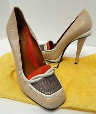 New Fendi 38 7.5 M Beige Multi Lizard Leather Platform Heels Pumps Italy