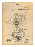 1914 French Horn Patent Print Art Drawing Poster 18 X 24