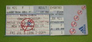 New York Yankees Ticket Stub | July 3 1998 | Derek Jeter Hit