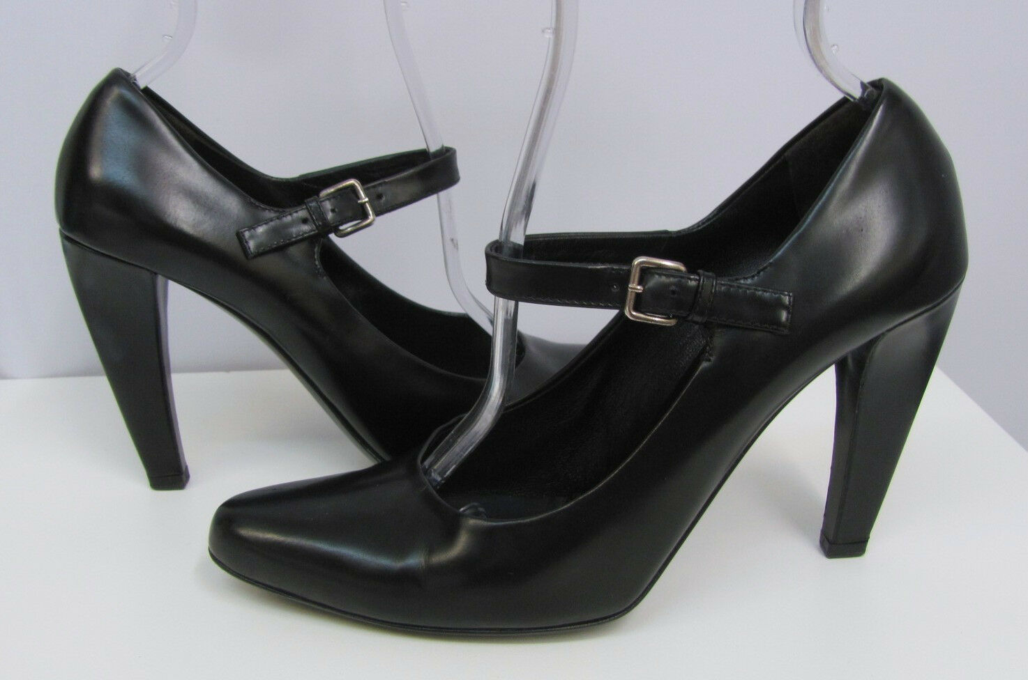 PRADA MARY JANES SHOES BLACK LEATHER GREAT SEXY STYLE SIZE 39 1 2