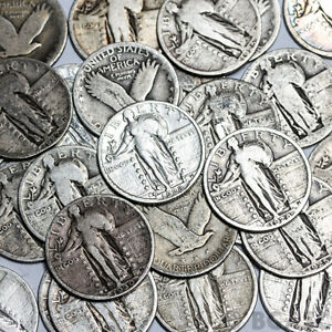 Standing-Liberty-Quarters-90-Silver-Coin-Lot-Circulated-Choose-How-Many