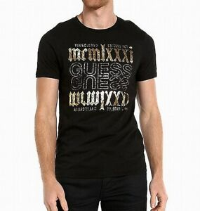 Guess-Mens-T-Shirt-Black-Size-2XL-Foil-Logo-Graphic-Crewneck-Tee-39-275