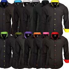 Rusty Neal Herren Kontrast Hemd Business Hochzeit Freizeit SlimFit Black Edition