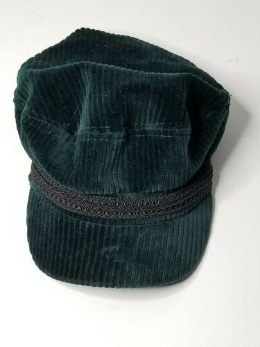 Topshop Cord Corduroy Trim Baker Boy Hat Cap Green