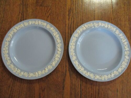 "2 Wedgwood Embossed Queensware White on Lavender Blue 8"" Salad Plates"