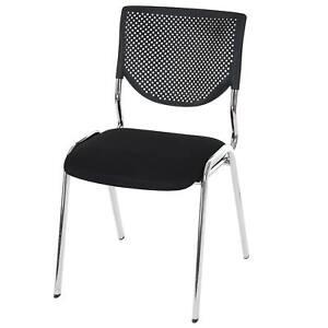 Sitz schwarz Füße chrom 2x Besucherstuhl H401 Konferenzstuhl Textil