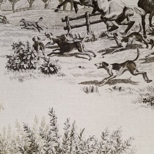 Wallquest Horse and Hound Hunting Equestrian Linen Tan Green Designer Wallpaper