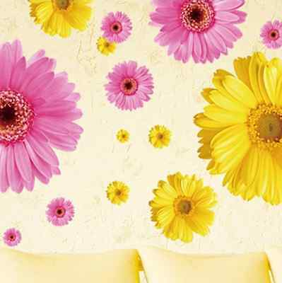 Big Sun Flower Three Color Removable Vinyl Decals Wall Sticker Vinyl Art