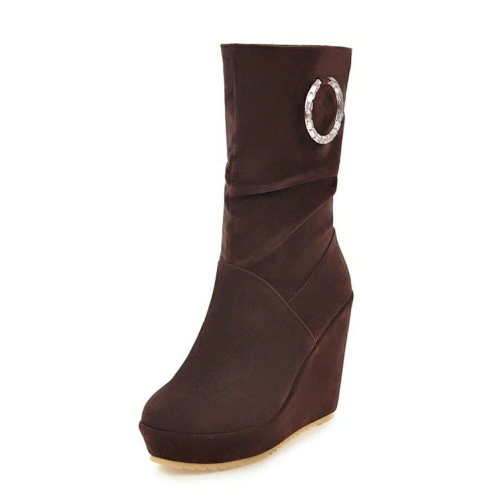 tempo libero donna Platform High Heel Winter stivali Pleated Mid Calf Calf Calf Wedge Round Toe  vendite calde