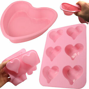 PINK-SILICONE-HEART-BAKING-TRAYS-Large-Cake-Mould-Deep-Muffin-Tray-Fairy-Pan