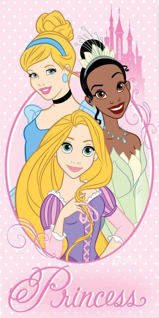 Official Disney Princess Cotton Beach Towel Tangled Rapunzel Tiana Frog Gift