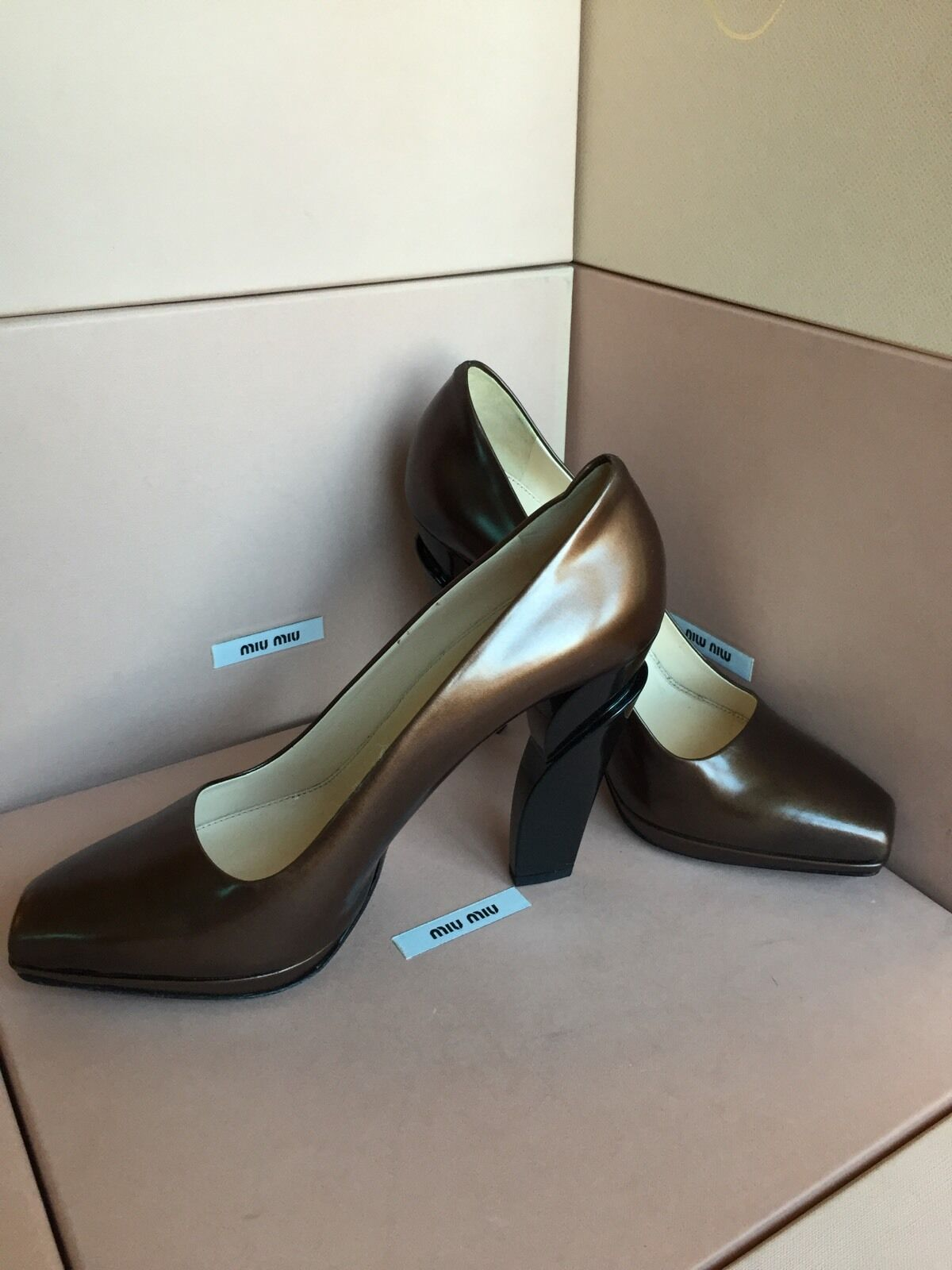 New PRADA Brown Heels Platform High Heels Brown Size 39.5 9.5 Women's Shoes 595d57