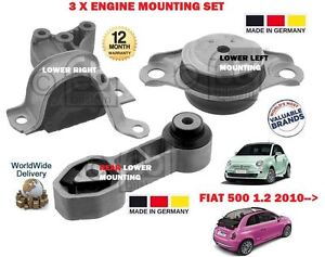 FOR FIAT 500 + 500C 1.2i 69BHP 2009 >NEW FRONT REAR 3 X ENGINE MOUNTING SET