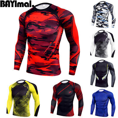 Men/'s Fitness Compression Jersey Quick-dry Dri fit Long Sleeve Sports Base Layer