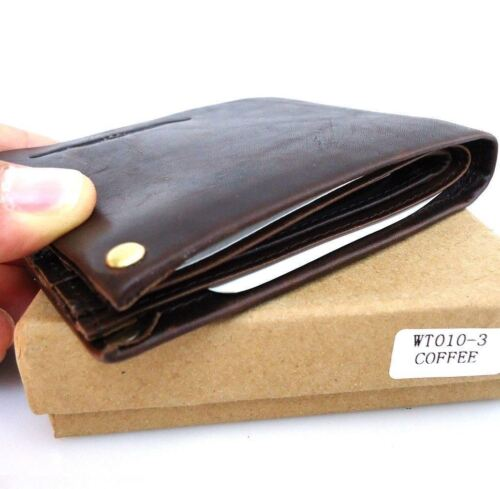 Men/'s Full Leather wallet 3 Credit Card Slots 3 Bill Compartmen​ts 1 id window s