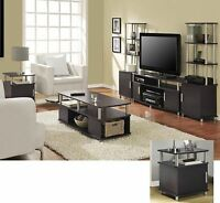 6 Piece Espresso Coffee Table Set Living Room Home Accent Furniture Collection