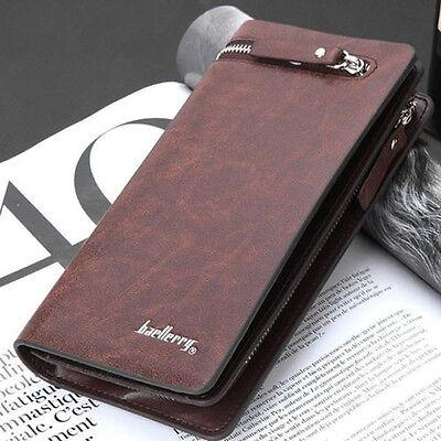New Men's Leather ID Card Holder Zip Wallet Purse Clutch Checkbook Billfold