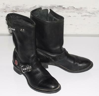 HARLEY-DAVIDSON~WOMEN'S~BLACK~GENUINE LEATHER *DOUBLE BUCKLE* MOTORCYCLE BOOTS~9