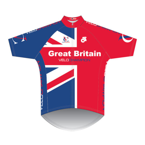 Mens VeloChampion Short Sleeve Jersey Racing Cycling Bike Hi Viz Top GB Shirt UK