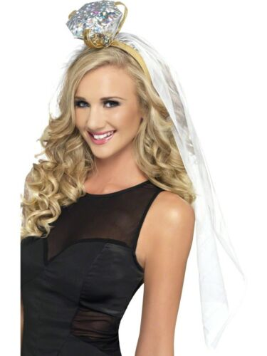 HEN NIGHT LADIES FANCY DRESS COSTUME ACCESSORY VEIL WITH RING HEN PARTY