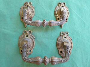 2 Grosses Poignées Pendantes Laiton Doré Ancienne Tiroirs Meuble Largeur 16,5 Cm