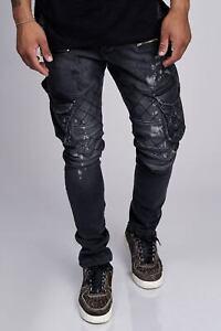 JEANS-Uomo-Biker-Jeans-Pantaloni-Cargo-NERO-DESTROYED-denim-slim-fit-John-Kayna