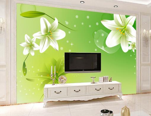 3D Grün Weiß Lily 74 Wall Paper Murals Wall Print Wall Wallpaper Mural AU Kyra