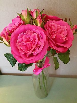 Bunch of 5 Vintage Hot Pink Artificial Cabbage Roses, Realistic Silk Flowers