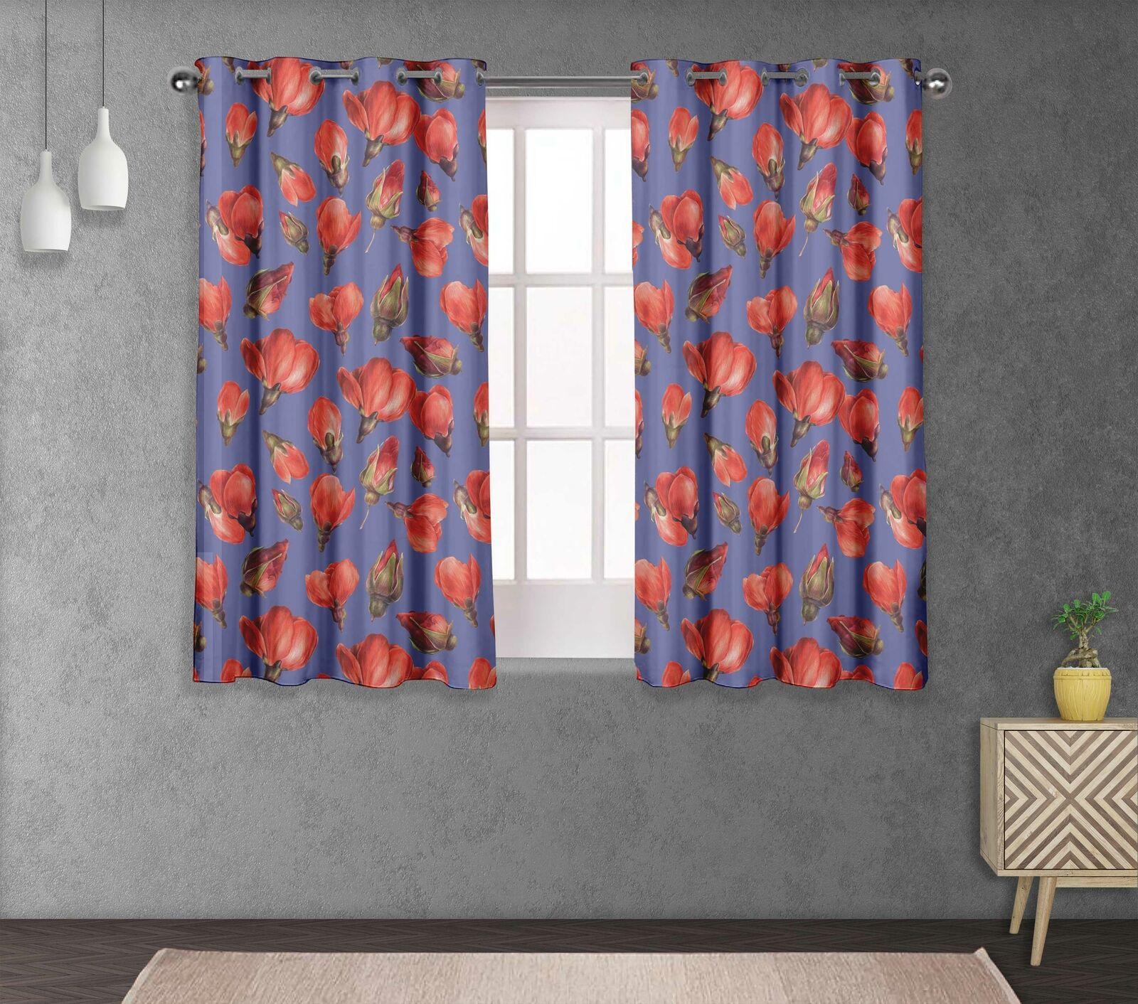 S4sassy Buds & Magnolia Living Room Eyelet Curtain Drapers -FL-847B