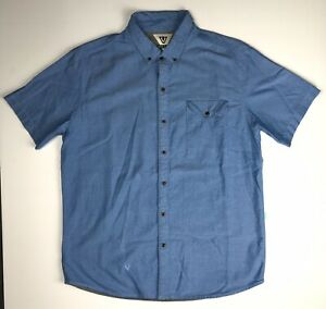 Vissla-Men-s-Short-Sleeve-Button-Down-Shirt-Sky-Blue-Size-Large