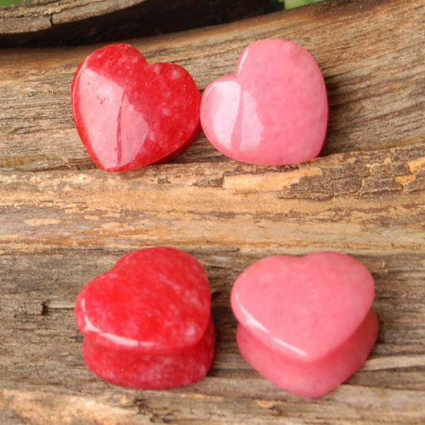 COMBO 2 Pair Stone Heart Shape Red & Pink Jade Organic Saddle Ear Gauges Plugs