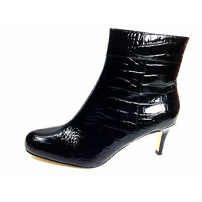 Kate Spade Black Crocodile Patent Leather Ankle Boot Size US.10 EU.40-41 UK.8