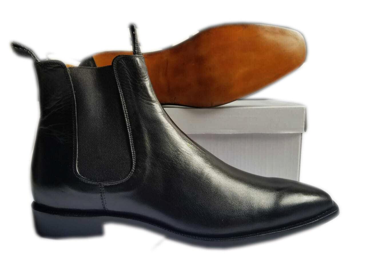 botas para hombre hecho a mano de cuero negro genuino Chelsea Tobillo Jumper Nuevos Zapatos Formales