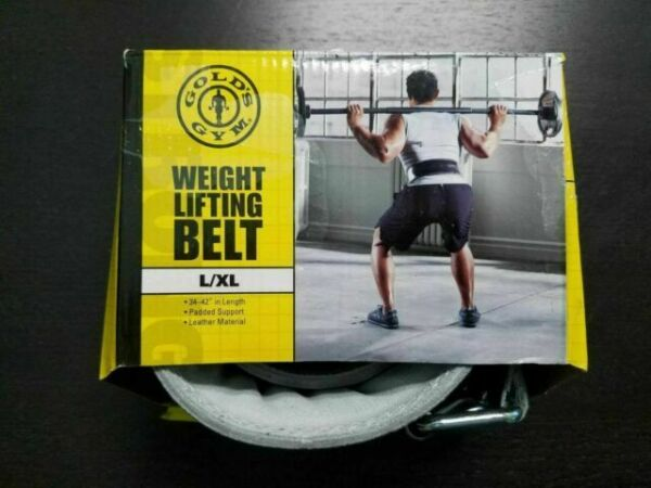 Gold/'s Gym Black Leather Weight Lifting Belt Size M//L NEW