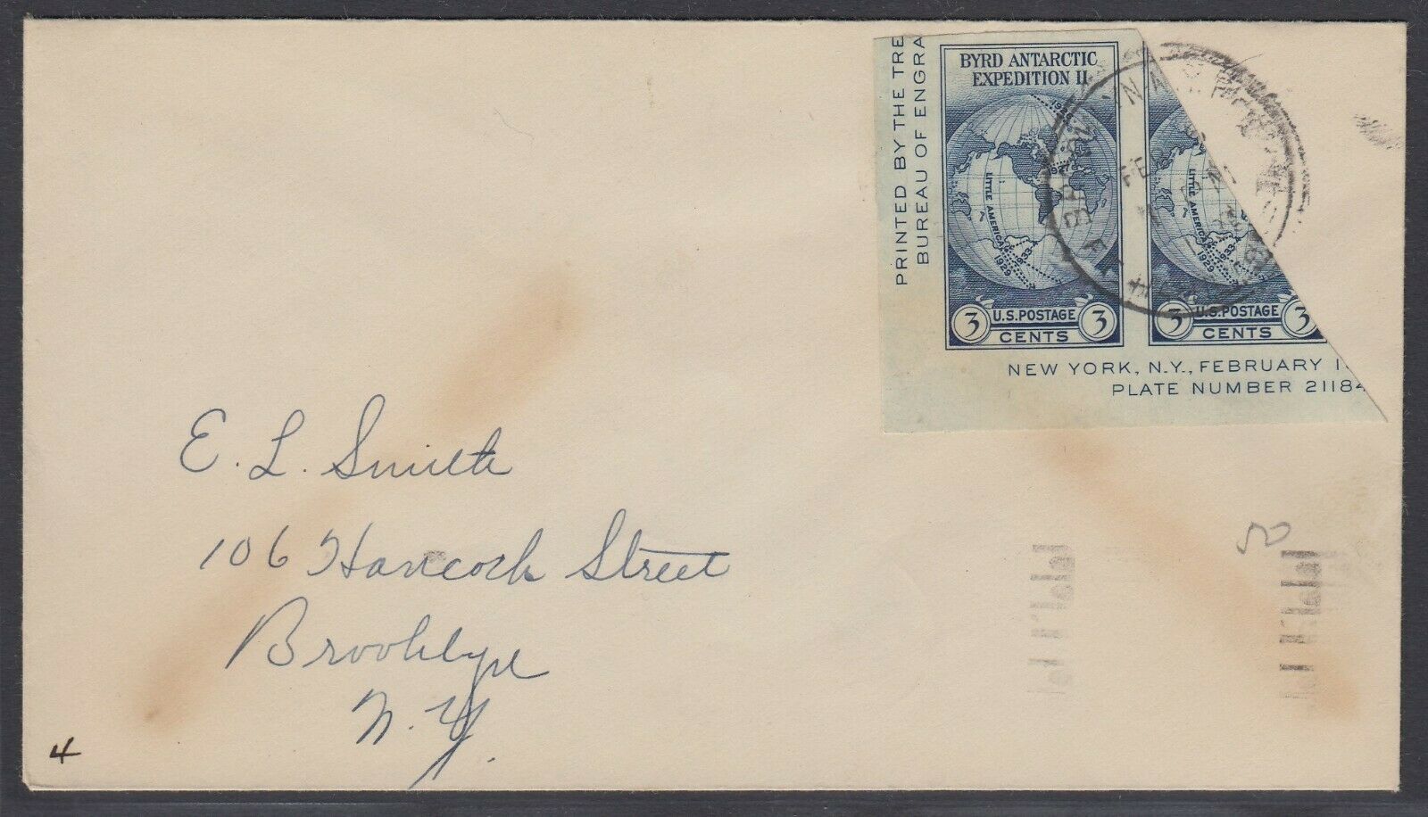 US Sc 735 - 1936 Diagonal BISECT on cover from Brooklyn NY addressed locally